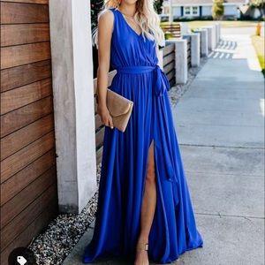 Diana Sleeveless Maxi Dress in Ocean Blue